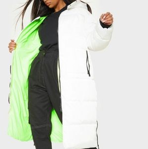 White Maxi Puff Coat With Neon Green Contrast